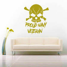 Proud Navy Veteran Skull Vinyl Car Truck Window Decal Sticker