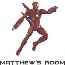 Iron Man Marvel Superhero Cartoon Character Vinyl Customized Name Wall Decal Custom Vinyl Wall Art Personalized Name Baby Girl Boy Kid Bedroom Decal Room Sticker Decoration Size 30x27 Inch