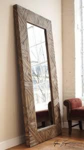 full length wood frame mirror textured