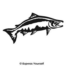 Chinook Salmon Leap Decal Salmon Drawing Animal Stencil Salmon Tattoo