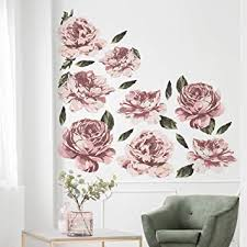 Amazon Com Large Pink Flower Wall Decals Rose Wall Decor Peel And Stick Vintage Peony Flower Wall Stickers Great For Nursery Decor Girls Bedroom Wall Decorations Baby