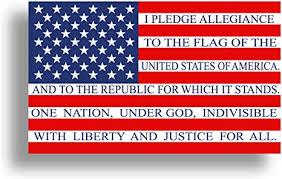 Amazon Com Pledge Of Allegiance American Flag Sticker Usa Patriotic Car Truck Laptop Cup Window Bumper Vinyl Decal Everything Else