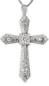 art deco platinum diamond cross this