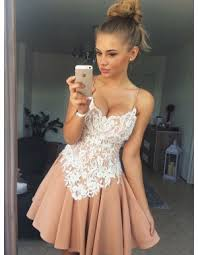 Buy A-Line Spaghetti Straps Appliques Short Pink Homecoming Dress for  $87.99 only - jjpromgirl.com.