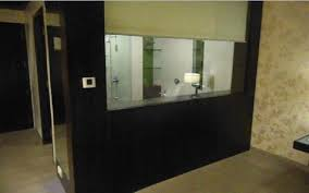 glass partition of the bathroom