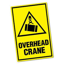 overhead crane sticker warning safety