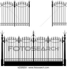 Gate And Fence Clipart K2326251 Clip Art Wrought Iron Gate Fence