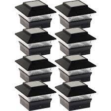 New Black Solar Outdoor Garden Deck Patio 4x4 Pvc Fence Led Post Light 8 Pack Walmart Com Walmart Com