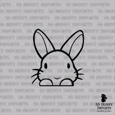 Peeking Cute Vinyl Bunny Sticker Rabbit Car Decal Laptop Etsy