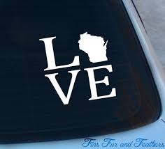 Love Wisconsin Decal State Decal Home Decal Wi Sticker Etsy