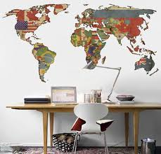 World Map Decal Vintage Flags World Map Wall By Decoryourwall World Map Decor World Map Wall Decal Map Decor