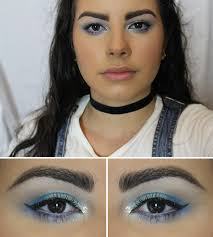 blue frosty 90 s makeup look the