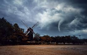 wallpaper field storm mill tornado