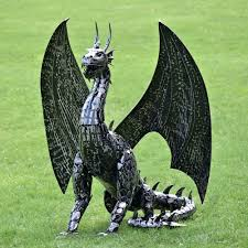 large metal dragon statue decor only 2