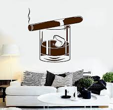 Vinyl Wall Decal Whiskey Glass Cigar Alcohol Bar Men S Style Stickers Ig4334 Ebay