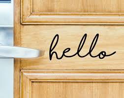 Hello Door Decal Etsy