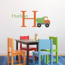Personalized Dump Truck Wall Decal Set Initial Boy Name Wall Decal Boy Bedroom Wall Sticker Medium Name Wall Decals Personalized Wall Decals Wall Decals