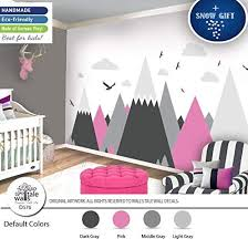Amazon Com Pink Gray Mountains Wall Decal For Nursery Kid Room High Quality Removable Sticker Eagles Pine Trees Clouds Adventure Decal Handmade