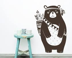 Tribal Bear Wall Decal Nursery Decal Vinyl Wall Decal Woodland Animal Decal Tribal Nursery Wall Sticker