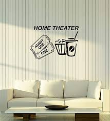 Amazon Com Vinyl Wall Decal Home Theater Tickets Popcorn Cinema Movie Room Interior Stickers Mural Large Decor Ig6010 Black Home Kitchen