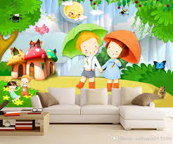 Romantic Couple 3d Cartoon Children Room Kids Room Background Wall Painting Wallpapers Of Nature Wallpapers On Desktop From Wallpaper20151688 5 74 Dhgate Com