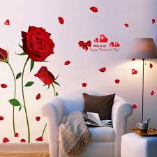 Flower Wall Decal Floral Wall Decals Red Rose Large Self Etsy