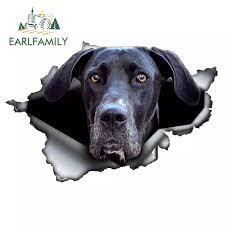 Earlfamily 13cm X 8 7cm Black Great Dane Car Sticker Torn Metal Decal 3d Reflective Stickers Waterproof Car Styling Vinyl Decal Car Stickers Aliexpress
