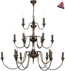 large 3 tier chandelier rich bronze