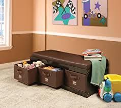 Amazon Com Kid S Cushioned Storage Bench With 3 Basket Bins Baby