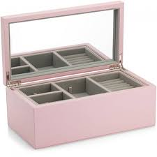 large pink leather jewelry box