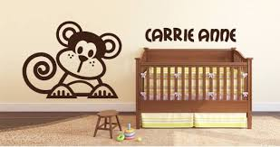 Lettering Cute Line Monkey Personalized Wall Decals Dezign With A Z