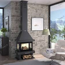 huge wood stove of 13 5 kw with 3 sides