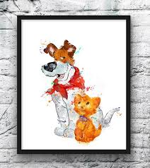 Dodger And Oliver Watercolor Print Oliver And Company Art Etsy