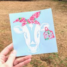 Lilly Cow Head Tag Bandana Monogram Decal Sew Southern Designs