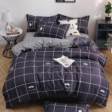 3 bedding set stripe grey bed set