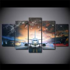 5 Panels Aircraft Framed Poster Print Canvas Art Multi Piece