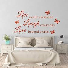 Home Decor Live Laugh Love Quote Wall Decal Live Every Moment Saying Vinyl Wall Sticker Removable Bedrrom Love Wall Art Ay1761 Wall Stickers Aliexpress