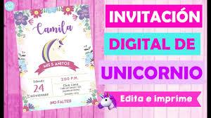 Invitacion Unicornio Digital Editable Facil Y Economico Party Pop Diy Tarjeta Unicornio Youtube