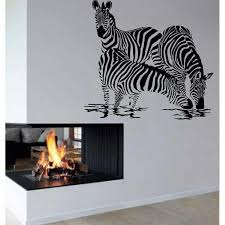 Shop Zebra Drinking Water Vinyl Sticker Interior Design Wall Decor Home Decor Art Mural Sticker Decal Size 22x22 Color Black Overstock 14622517