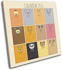Amazon Com Bold Bloc Design Cute Calendar For Kids Room 75x75cm Single Canvas Art Print Box Framed Picture Wall Hanging Hand Made In The Uk Framed And Ready To Hang
