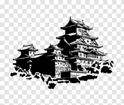 Japanese Castle Wall Decal Sticker Phonograph Record Black And White Transparent Png