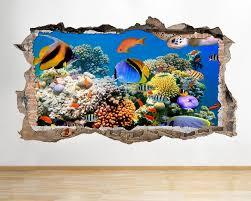 W039 Aquarium Fish Ocean Sea Coral Wall Decal Poster 3d Art Etsy