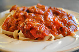 homemade spaghetti sauce in the
