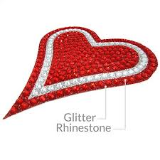 Sparkle Rider Rhinestone Decal Stickers Heart Shape 4 5 Inch Red Silver Sparkle Rider