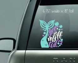 Mermaid Decal Get Off My Tail Mermaid Tail Bubbles Etsy
