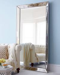 antiqued silver beaded floor mirror