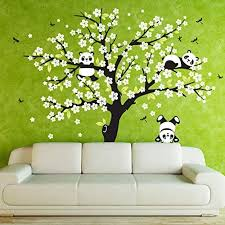 Amazon Com Anber Giant Tree Wall Decal Three Adorable Pandas Dragonflies Wall Sticker Murals Art Bedroom Nursery Baby Kids Rooms Wall Decor Home Kitchen