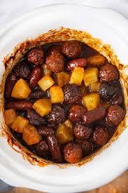 slow cooker meatball pineapple smokies