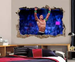 John Cena Smashed Wall 3d Effect Decal Wall Sticker Art Wwe H227 Sticker Wall Art Removable Wall Stickers Wall Stickers Room