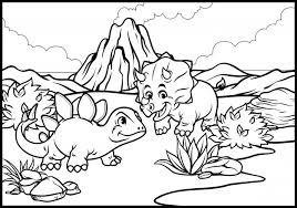 Kleurplaat Van Cartoon Triceratops En Stegosaurus Premium Vector